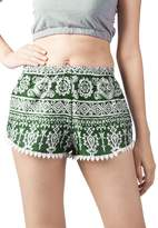 Lofbaz Women's Printed Lace Summer Shorts Red L