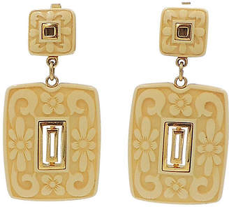One Kings Lane Vintage Trifari Faux-Ivory Drop Earrings - 1972 - Carrie's Couture