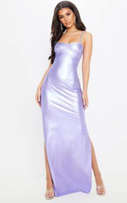 PrettyLittleThing Lilac Metallic Strappy Maxi Dress