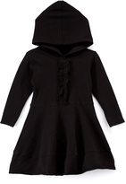 Nano Black Ruffle-Front Hooded A-Line Dress - Infant, Toddler & Girls