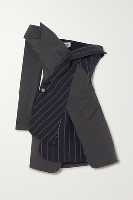 Monse Off-the-shoulder Paneled Wool-blend Mini Dress - Charcoal