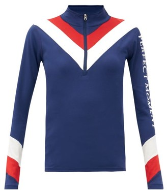 Perfect Moment Chevron-striped Quarter-zip Thermal Top - Navy