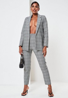 Missguided Black Co Ord Plaid Tailored Cigarette Pants