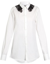 Dolce & Gabbana Lace-collar stretch-cotton shirt