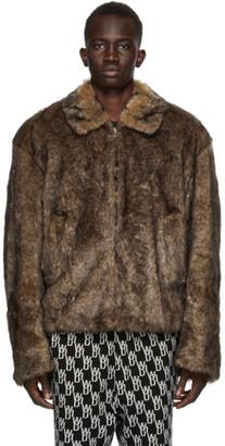 we11done Brown Faux-Fur Zip-Up Jacket