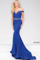 Jovani Off the Shoulder Jersey Mermaid Prom Dress 49254