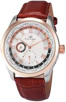 K&S KS Men's Analog Day,24-hour Display Automatic Mechanical Brown Leather Band Wrist Watch KS302