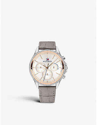 Tommy Hilfiger Chronograph silver-tone and leather watch