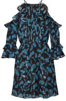 Rachel Zoe Vikki Cold-shoulder Printed Silk-chiffon Mini Dress - Azure