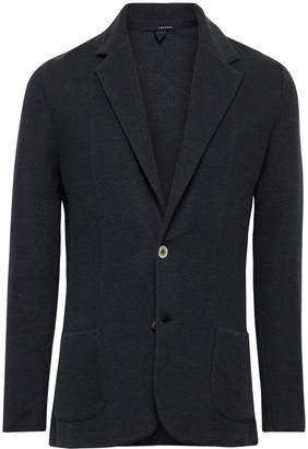 Lardini Midnight-blue Slim-fit Linen And Silk-blend Blazer - Blue