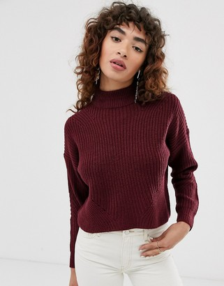 Only turtle neck cropped chunky knit jumper-Purple