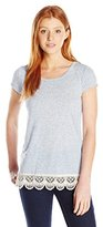 Jolt Women's Lace Hem Short Sleeve Tunic Top