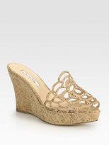 Oscar de la Renta Virma Cork Wedge Sandals