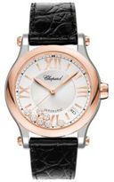 Chopard Happy Sport Diamond 18K Rose Gold, Stainless Steel & Leather Strap Watch
