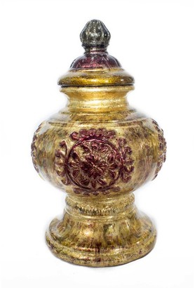 HomeRoots Ava Amber Burgundy Green Ceramic Foil and Lacquer Urn Vase