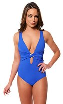 Trina Turk Women's Marrakesh Solids Cross Back One Piece Swimsuit