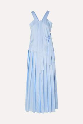 Joseph Emmy Pleated Silk-satin Midi Dress - Blue