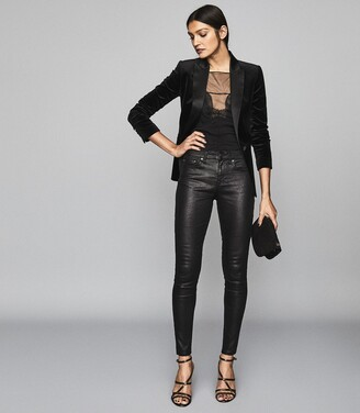 Reiss Lux Snake Coated - Coated Mid Rise Skinny Jeans in Black
