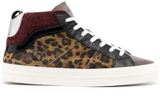D.A.T.E Leopard High-Top Sneakers