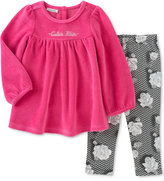 Calvin Klein Baby Girls' 2-Pc. Velour Tunic & Floral-Print Leggings Set
