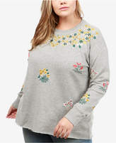 Lucky Brand Trendy Plus Size Cotton Embroidered Sweatshirt