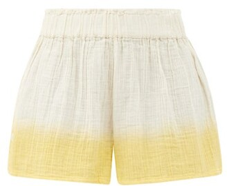 Anaak Aria Buttoned-side Dip-dyed Cotton Shorts - Yellow Multi