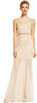 Adrianna Papell Sheer Floral Beaded Dress AP1E200993