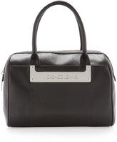 Versace Logo-Plate Structured Satchel Bag, Nero