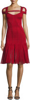 Herve Leger Lexi Cold-Shoulder Tulle-Skirt Bandage Dress, Red