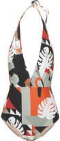 Adriana Degreas Printed Halterneck Swimsuit - Gray