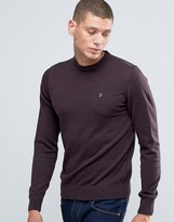 Farah Sweater In Merino Wool Slim Fit In Bordeaux
