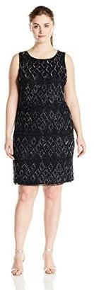 Pisarro Nights Women's Plus Size Short Diamond Motif Beaded Dress