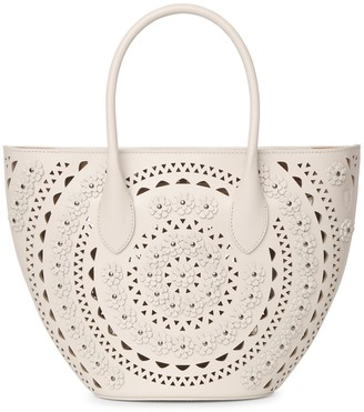 Alaia Latifa Mini Flower cream bag