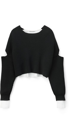 Alexander Wang Bi-Layer Cropped Oxford Pullover