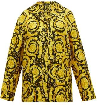 Versace Baroque-print Silk-twill Pyjama Shirt - Womens - Gold Multi