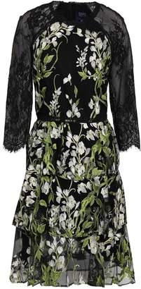 Marchesa Lace-paneled Embroidered Tiered Tulle Mini Dress