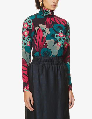 Dries Van Noten Floral-print stretch-knit top