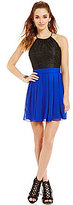 B. Darlin High Neck Lace Bodice to Chiffon Skirt Color Block A-line Dress