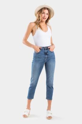 francesca's Idele Cropped Vintage Wash Jeans - Light Blue