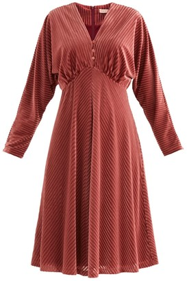 Paisie London Striped Velvet Dress In Berry
