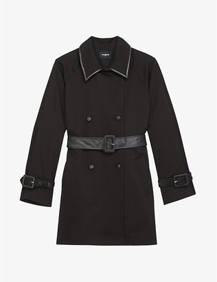The Kooples Double-breasted leather and stretch-cotton coat