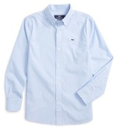 Vineyard Vines Boy's Fine Line Stripe - Whale Woven Shirt