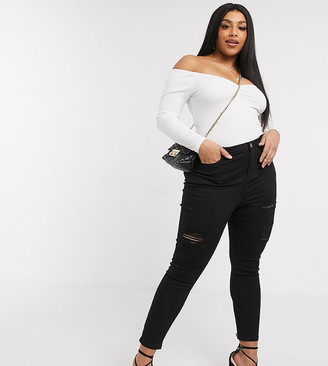 Simply Be Chloe high waisted ripped skinny jeans in black