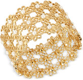 INC International Concepts M. Haskell for Gold-Tone Imitation Pearl Daisy Stretch Bracelet