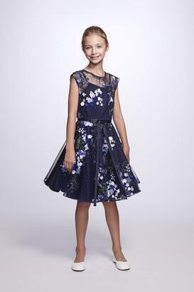 Marchesa Notte Eloise 3D Embroidered Cap Sleeve Mini Dress