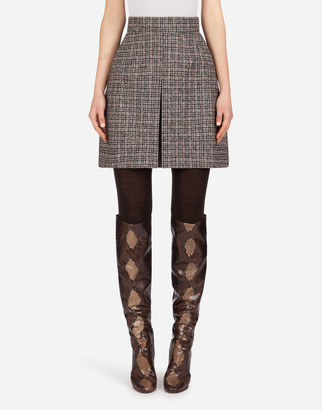Dolce & Gabbana Short Skirt In Micro Tweed With Kick Pleat