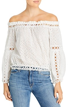 Elan International Lace Off-the-Shoulder Top