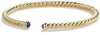 David Yurman Precious Cable Pavé Cablespira Bracelet with Blue Sapphires in Gold