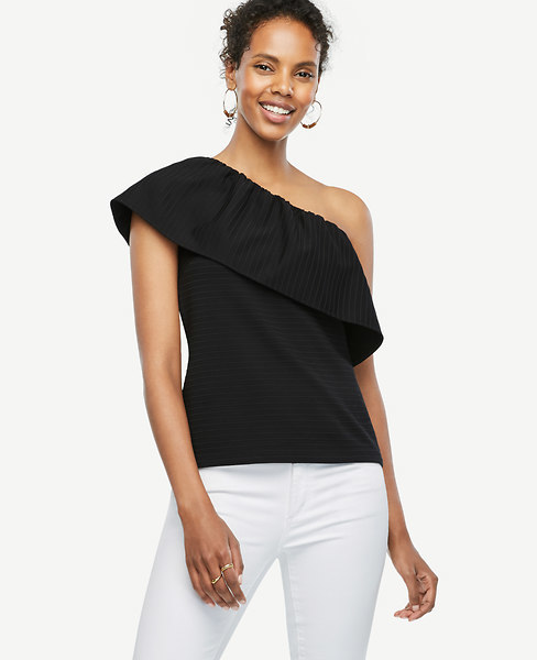 Ann Taylor Deep Ruffle One Shoulder Top