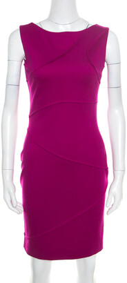Escada Hot Lava Purple Stretch Knit Pintuck Detail Sleeveless Bodycon Dress S